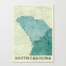 South Carolina State Map Blue Vintage Canvas Print