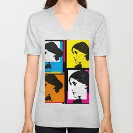 VIRGINIA WOOLF (FUNKY COLOURED COLLAGE) Unisex V-Neck