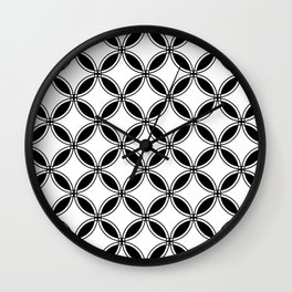 Large White Geometric Circles Interlocking on Black Background Wall Clock
