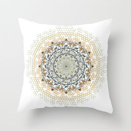 Overlapping Bee Mandala (Color) Throw Pillow