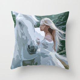 The White Maiden and A White Horse Throw Pillow
