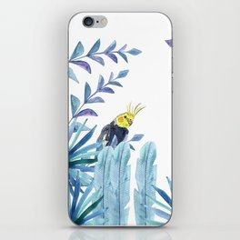 Cockatiel with tropical foliage iPhone Skin