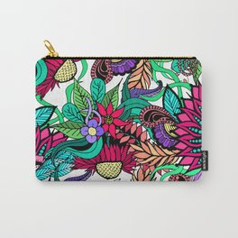 Girly Vibrant Flower Garden Illustrated Drawings Carry-All Pouch