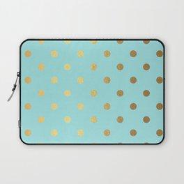 Gold polka dots on aqua background - Luxury turquoise pattern Laptop Sleeve
