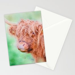Highland cow close up watercolor Stationery Cards