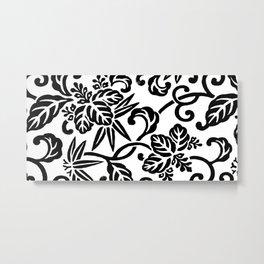 Japanese Floral White & Black Metal Print