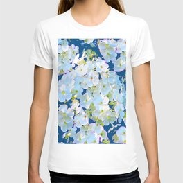 DELICATE TEAL & WHITE LACE FLORAL GARDEN T-shirt