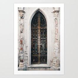 Gothic door of grave in Recoleta cemetary, Buenos Aires Art Print