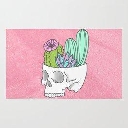 Succulent cactus garden flower pastel skull Rug