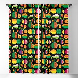 Fruit Medley Black Blackout Curtain