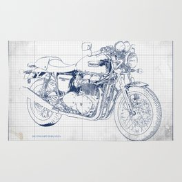 Triumph motorcycle blue and grey, giftforman,christmas gift Rug