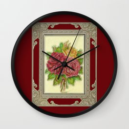 Bunch of Roses red design Wall Clock