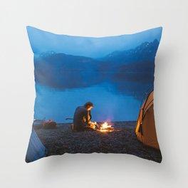 Camp on North Sea Island Throw Pillow