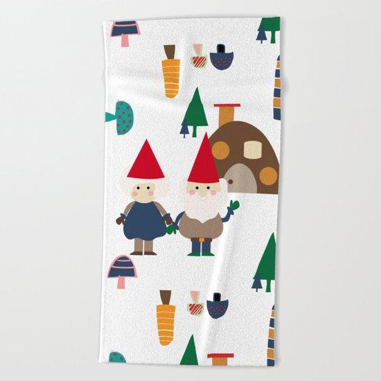 Gnome white Beach Towel