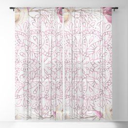 Mandala Rose Garden Pink on White Sheer Curtain