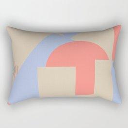 Geometrical abstract art deco mash-up coral sapphire Rectangular Pillow