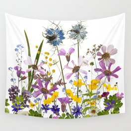 Pressed And Dried Midsummer Flowers Meadow Wall Tapestry