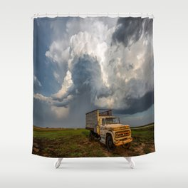 Work Hard - Old Farm Truck and Storm in Southern Kansas Shower Curtain