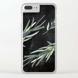 Eucalyptus leaves on chalkboard Clear iPhone Case