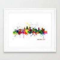 kansas city Framed Art Prints featuring Kansas City Skyline by artPause