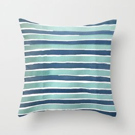 Aqua Teal Stripe Throw Pillow