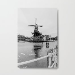 Iconic mill 'The Adrian' IV in black and white in Haarlem alongside a frozen Spaarne canal | Ice skating | Reflections | Architectural fine art print Metal Print
