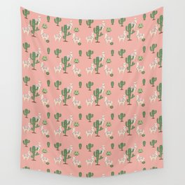 Alpaca with Cacti Wall Tapestry