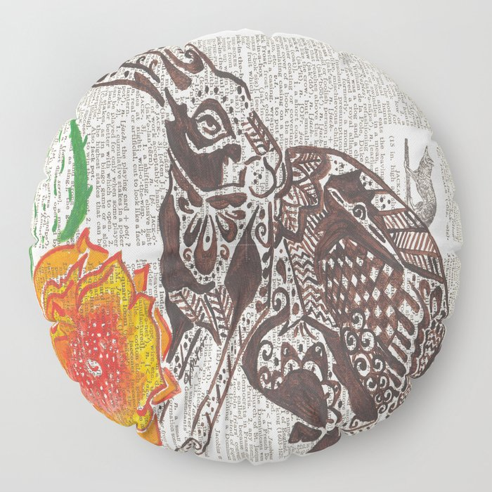 Jumpin' Jack Flash  (jack rabbit and cactus flower on dictionary page) Floor Pillow