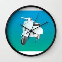 vespa Wall Clocks featuring Vespa by Frivolous Designs