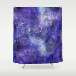 Space Universe with surreal soap bubbles Shower Curtain