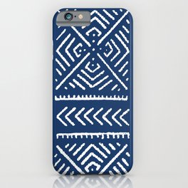 Line Mud Cloth // Dark Blue iPhone Case