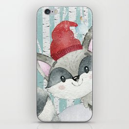 Winter Woodland Friends Cute Racoon Snowy Forest Illustration iPhone Skin