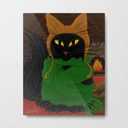 One Satisfied Yule Cat Metal Print