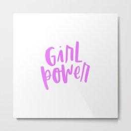Girl Power 2 Pink and White Metal Print