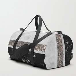 White and Black Marble Silver Glitter Stripe Glam #1 #minimal #decor #art #society6 Duffle Bag