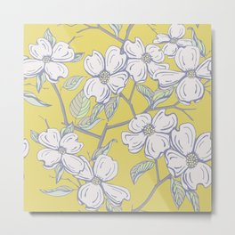 Dogwood Floral in Yellow Metal Print