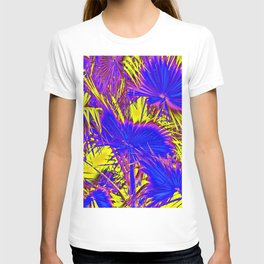 closeup palm leaf texture abstract background in blue pink and yellow T-shirt