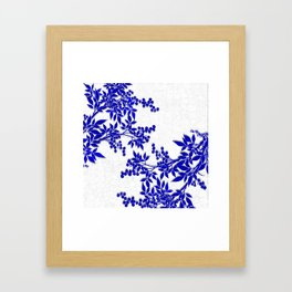 BLUE AND WHITE  TOILE LEAF Framed Art Print