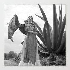 Vintage Frida Kahlo Photo by Agave Plant with Shawl Canvas Print