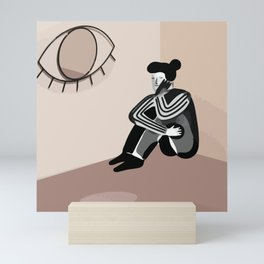 I'M WORRIED. Abstract Woman Silhouette Art, Line Drawing Boho Wall Print, Minimaliste Printable Art Mini Art Print
