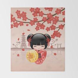 Japanese Red Sakura Kokeshi Doll Throw Blanket