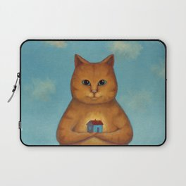 Every Cat need a Home. Ginger Cat Illustration Laptop Sleeve