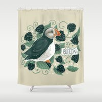 puffin Shower Curtains featuring Blackberry Puffin by Kelsey King Illustration