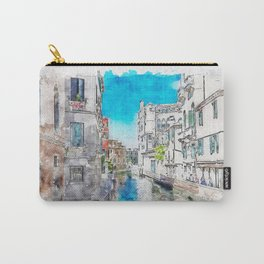 Aquarelle sketch art. Typical canals with old houses Venice Carry-All Pouch