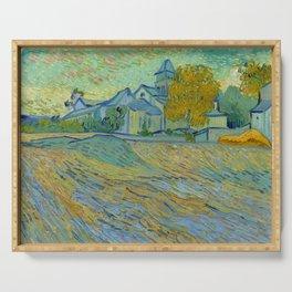 """Vincent van Gogh """"Vue de l'asile et de la Chapelle de Saint-Rémy"""" Serving Tray"""