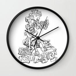 Jiu  Jitsu Zombie goes for an armbar, Black & White Edition Wall Clock