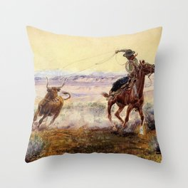 """""""On the Pond"""" by Charles M Russell Throw Pillow"""