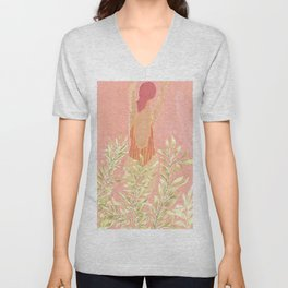 Girl and the leafs Unisex V-Neck