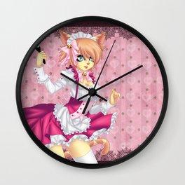 Pink Neko Maid Wall Clock