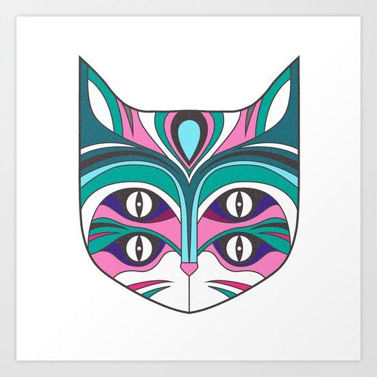 4 eyed cat (2) Art Print